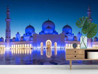 Panorama of Sheikh Zayed Grand Mosque in Abu Dhabi near Dubai at night, United Arab EMirates