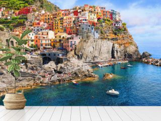 Italy - the Cinque Terre National Italian park. UNESCO world heritage site. Historical ancient Mediterranean place.