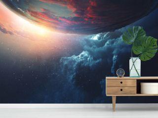 Deep space beauty. Planet orbit.