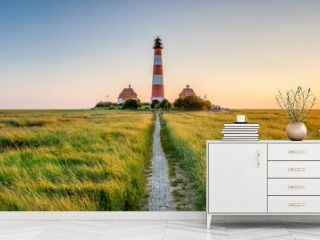 Panorama of the Westerheversand Lighthouse at Westerhever in Nordfriesland in the German state of Schleswig-Holstein