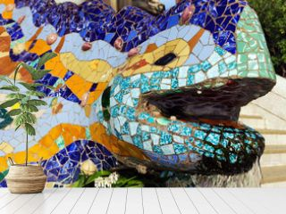 Mosaic Tiles Park Guell in Barcelona, Spain.