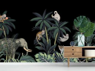 Tropical night vintage wild animals elephant, monkey, sloth, palm tree, palm leaves and plant floral seamless border black background. Exotic jungle wallpaper.