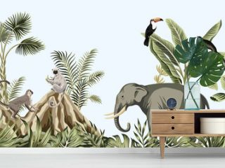 Tropical vintage botanical landscape, elephant, monkey, lemur wild animal, toucan bird, mountain, palm tree, banana tree, plant floral seamless border blue background. Exotic green jungle wallpaper.