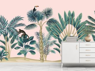 Tropical vintage botanical landscape, palm tree, banana tree, plant, monkey, toucan, black parrot floral seamless border pink background. Exotic jungle animal wallpaper.