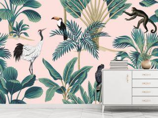 Tropical vintage botanical wild animal crane, parrot, toucan, monkey floral palm tree seamless pattern pink background. Exotic jungle wallpaper.
