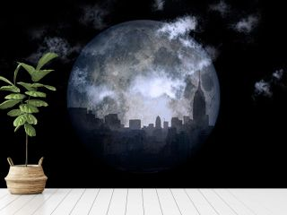 3D rendering. Full moon over night city