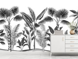 Tropical vintage botanical landscape, palm tree, banana tree floral seamless pattern white background. Exotic black and white jungle wallpaper.