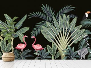Tropical vintage wild animals, birds, palm tree, banana tree and plant floral seamless border black background. Exotic jungle wallpaper.