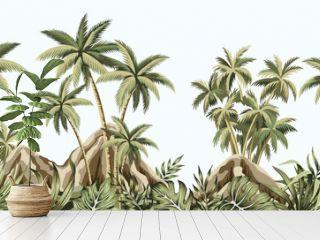 Tropical vintage botanical landscape, mountain, palm tree, plant, palm leaves floral seamless border blue background. Exotic green jungle wallpaper.