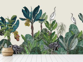 Panorama High End Seamless Border, Navy Blue Palms with Bushes and Crane Birds Wildlife