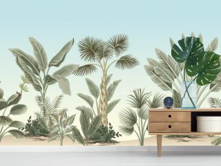 Vintage tropical palm tree, banana tree, plant floral border blue background. Exotic jungle wallpaper.