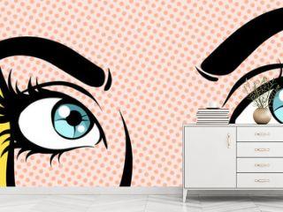 Woman's eyes. Close up, pop art vector illustration.