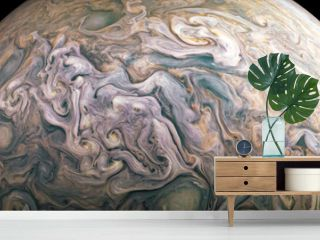 Jupiter planet in outer space close-up. Elements of image furnished by NASA.