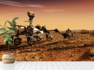Mars Rover Perseverance exploring the red planet. Mission to explore the red planet. search for traces of life. Elements of image furnished by NASA