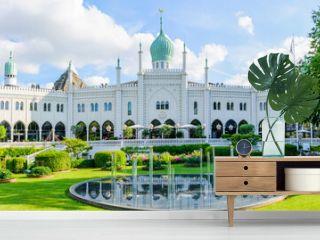 Beautiful panoramic shot of amusement park called Tivoli Gardens, Copenhagen, Denmark