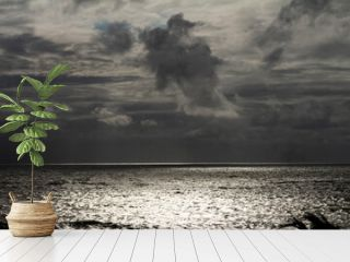 Huge storm clouds over the sea. He is reflected on the water. Holiday landscape.