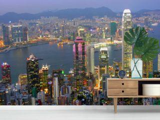 Blick auf Hong Kong am abend