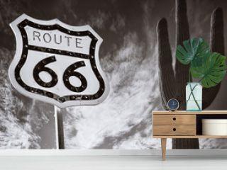 Route 66 with Saguaro Cactus