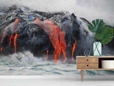 Multiple Lava Flows, Ocean, Steam, close up