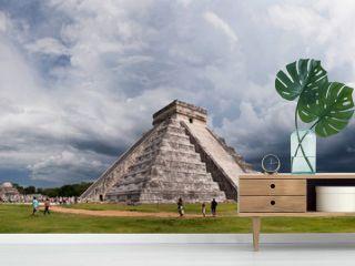 Mayan pyramid, the panorama of Chichen Itza, Mexico