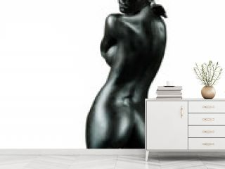 artistic nude young woman isolated white background