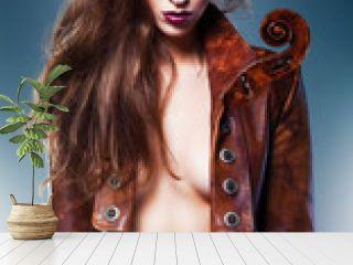 pretty beautiful erotic violin woman in brown jacket