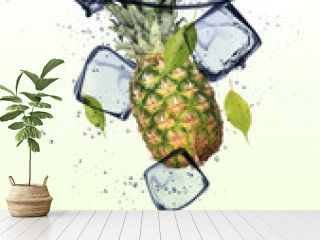 Pine-apple with ice cubes