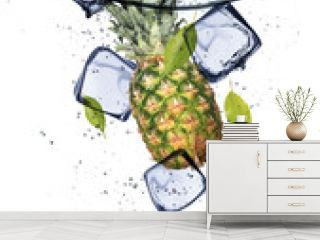 Pine-apple with ice cubes, isolated on white background