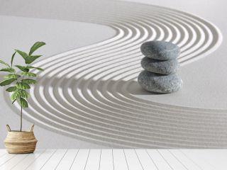 Japanese ZEN garden with stacked stones