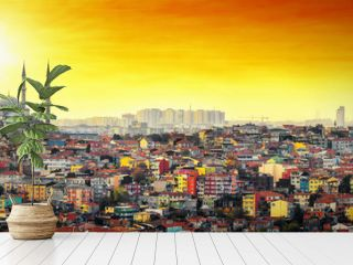 Istanbul Mosque with colorful residential area in sunset