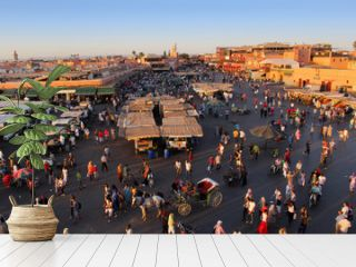 The famous Marrakesh square Djemaa el Fna, center of the old tow