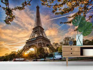 Eiffel Tower against sunrise  in Paris, France