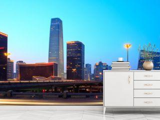 Beijing's modern skyline at dusk