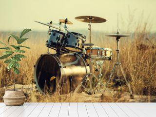 Drum set on fresh air