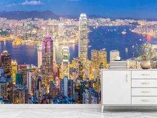 Hong Kong Skyline at Dusk Panorama