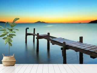 Wooden pier and sunset
