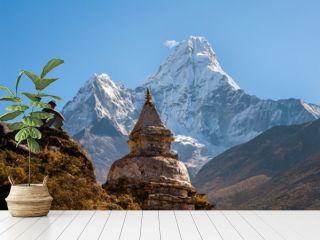 Buddhist stupa with Ama Dablam in background, Nepal