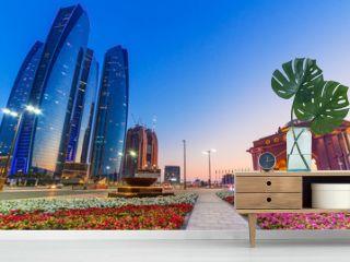 Streets of Abu Dhabi at dusk, capital of United Arab Emirates