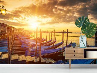 Panoramic view of Venice with gondolas at sunrise