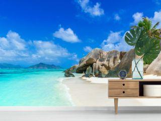 Tropical Paradise - Anse Source d'Argent - Beach on island La Digue in Seychelles