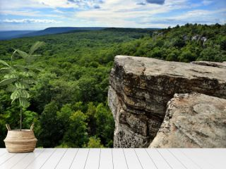 Massive rocks and view to the valley at Minnewaska State Park Reserve Upstate NY during summer time