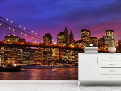 Brooklyn Bridge and Manhattan at sunset