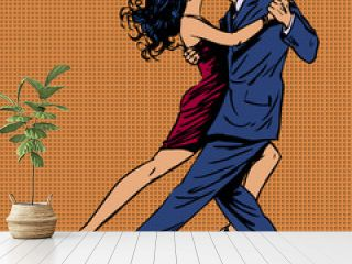 man and woman kiss dance tango pop art