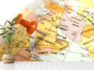 Location Saudi Arabia. Red pin on the map.