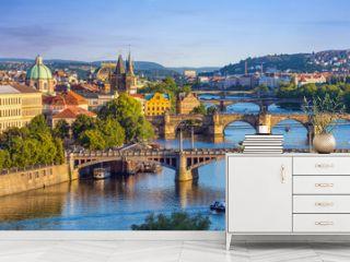 Prague city skyline and Charles Bridge, Prague, Czech Republic