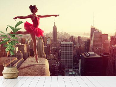 Ballet Dancer in front of New York Skyline