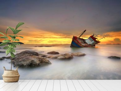 ship wrecked at sunset in Chonburi ,Thailand