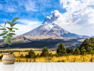 Active Popocatepetl volcano in Mexico