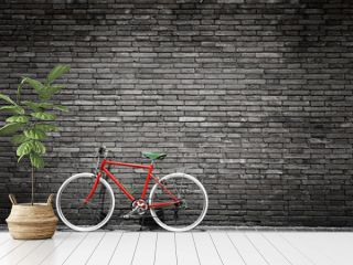 Black and white photo of red bicycle - vintage film grain filter effect styles