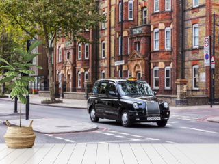 Black taxi on a london street